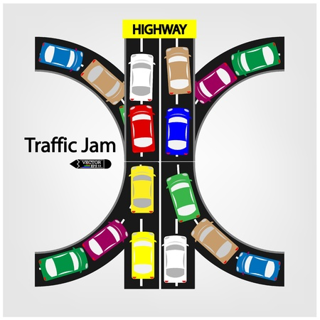 crowded street: traffic jam symbol ,vector