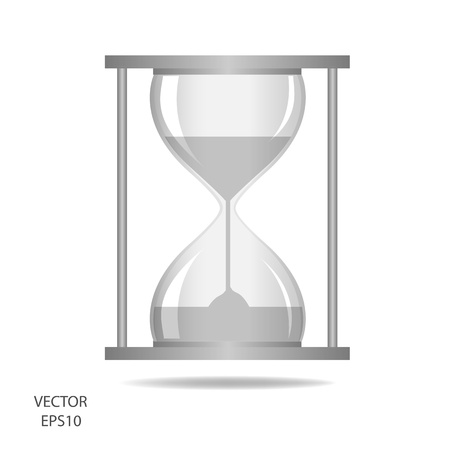 hourglass, sand glass, sand timer, sand clock isolated on the white background,vector Illustration