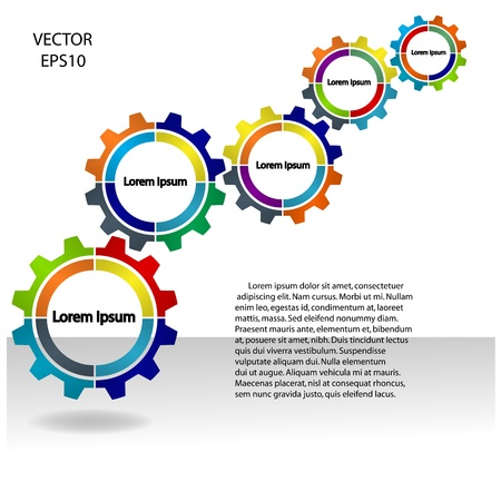 meshing gear on white background,industri al driving,vector Vector