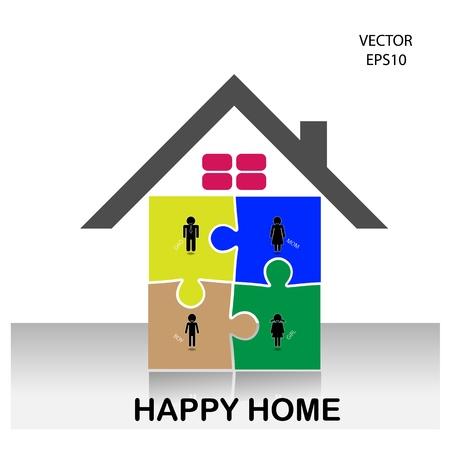Coloré symbole de maison de puzzle, maison icône, icône de famille heureuse, vecteur Banque d'images - 21281851
