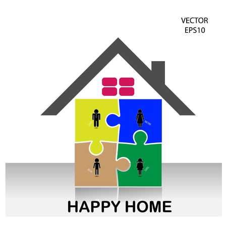 colorful puzzle home symbol,home icon,happy family icon ,vector Stock Vector - 21281851