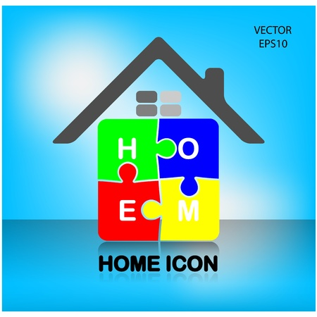 jig saw puzzle: colorful puzzle home symbol,home icon,happy family icon ,vector