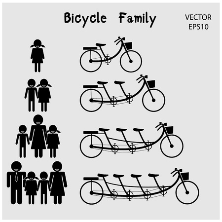 family icon with bicycle concept , clean energy concept ,vector Vector