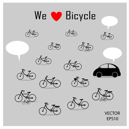 bicycles and car drawing on grey background ,vector Vector