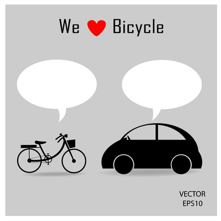 bubble car: bicycle and car icons with grey background ,vector