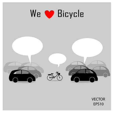 bicycle among many cars with grey background ,vector Vector