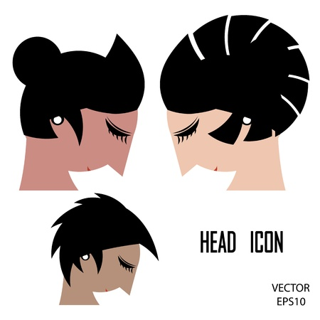Silhouette of a woman head isolated on white background,the concept of business icon,business symbol,vector Vector