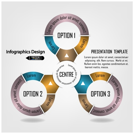 modern circle infographics options banner illustration  can be used for work flow layout, diagram, number options, web design  Illustration