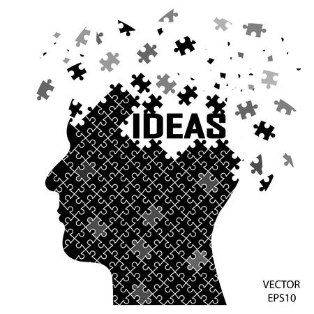black puzzle head , business concept