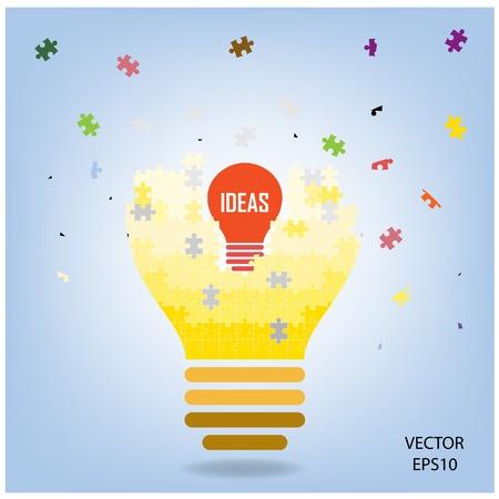 puzzle Light bulb , idea concept Vector