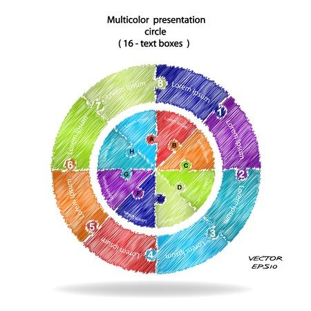 heptagon: scribble infographics options banner,colorful presentation template  Illustration