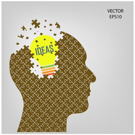 puzzle head and lamp on background , business concept Illustration