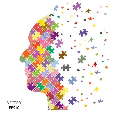 lluvia de ideas: cabeza de rompecabezas en el fondo, concepto de negocio Vectores