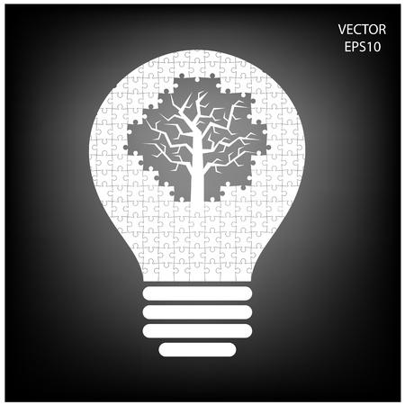 puzzle Light bulb , idea concept