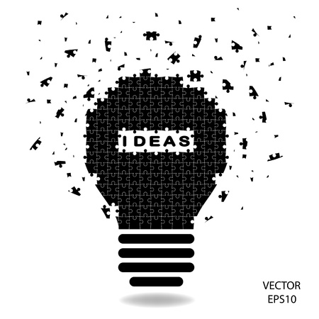 puzzle Light bulb , idea concept  Vector