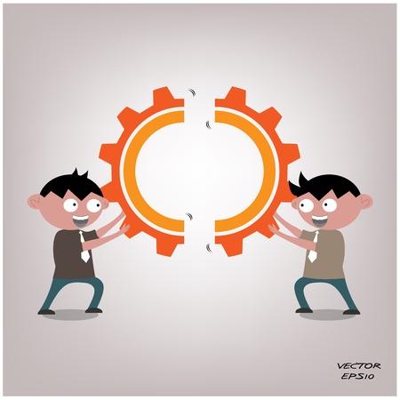 work together: Zakenmanpictogram, business concept