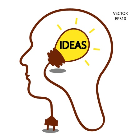 Man heads with Bulb symbol ,Business concepts ,vector Vector