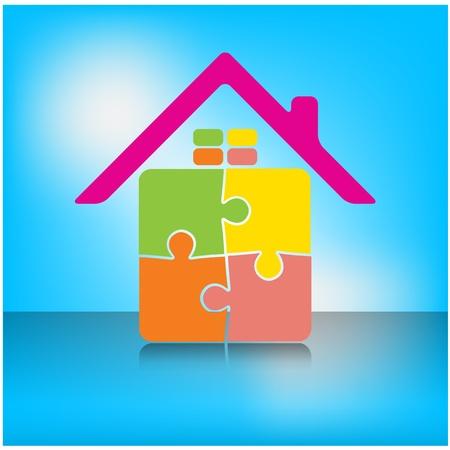 kleurrijke puzzel huis symbool, huis pictogram, gelukkige familie pictogram, vector