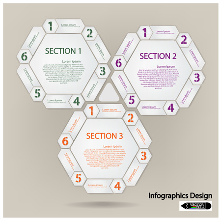 clean hexagon presentation template with numbers Stock Vector - 22632713