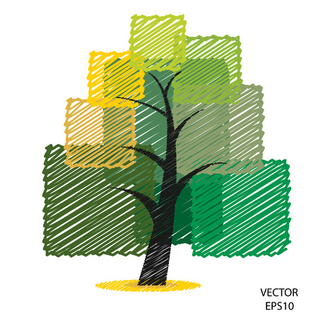 Couleur symbole de l'arbre griffonnage, arbre icône, icône d'affaires, textes boîte, vecteur Banque d'images - 22632743