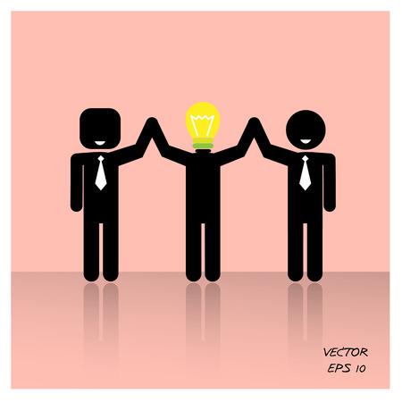 teamwork concepts , 3 people symbols ,businessman,vector illustration Vector