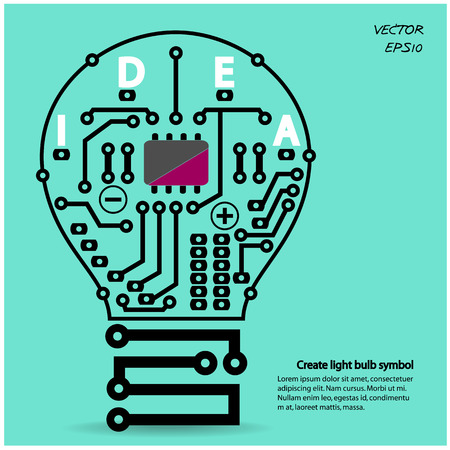 Light bulb idea concept template ,Light bulb circuit symbol    Vector illustration ,can be used for work flow layout, diagram, number options, web design  Ilustração