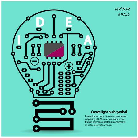 elementos: Plantilla de la bombilla concepto de idea, la bombilla del circuito s�mbolo ilustraci�n vectorial, se puede utilizar para el dise�o de flujo de trabajo, diagrama, opciones num�ricas, dise�o web