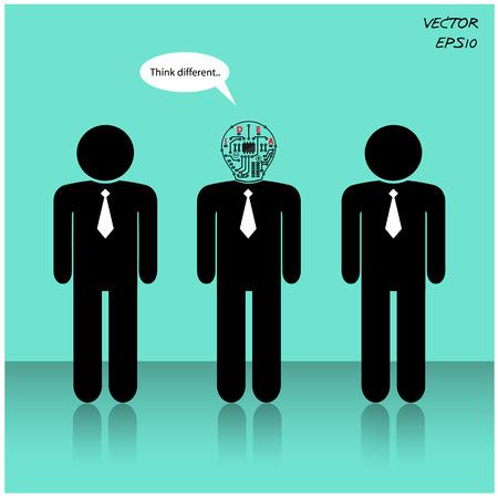 Think Different, onderscheiden van menigte, zakenman teken vector illustratie