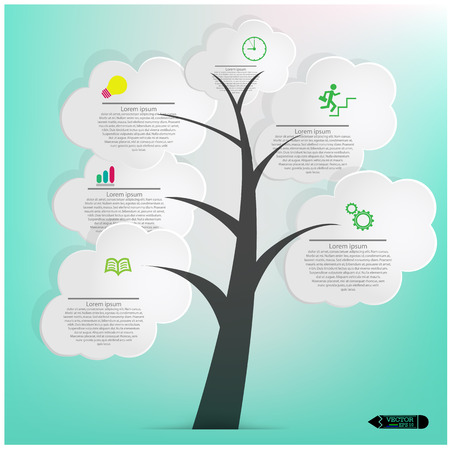 White Speech Bubbles Tree,Abstract Background,vector illustration  Vector