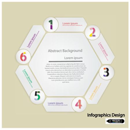 clean hexagon presentation template with numbers and place for your text  Vector illustration Vector