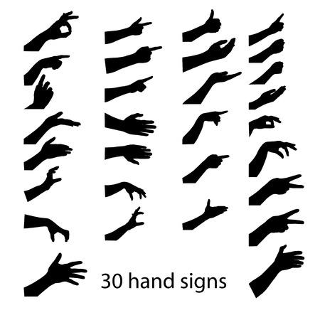 30 hands silhouettes . vector illustration Illustration