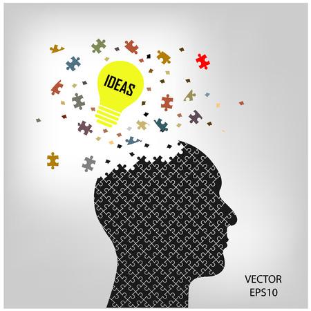 Human head sign and idea concept ,puzzle head,vector illustration Stock Vector - 23210979