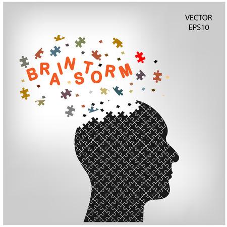 Human head sign and idea concept ,puzzle head,vector illustration Stock Vector - 23210983