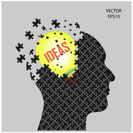Human head sign and idea concept ,puzzle head,vector illustration  Vector