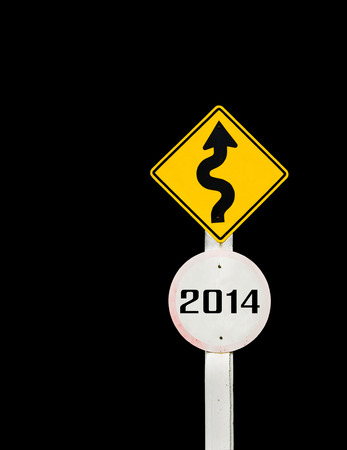 budgets: Road sign to 2014 with blue sky background,happy new year 2014