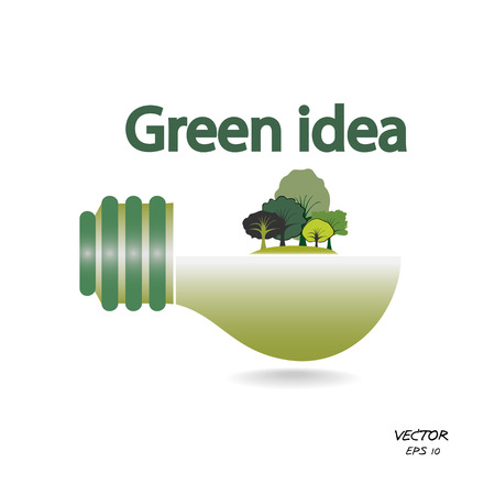 trees and green light bulb on white background,green concepts ,vector illustration Vector