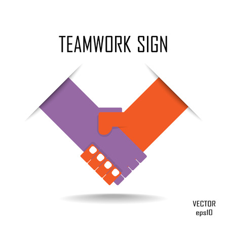 Handshake abstract vector design template. Business creative concept. Deal, contract, team, cooperation symbol icon  Illustration