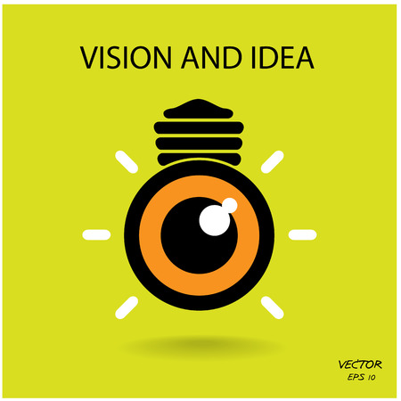 vision and ideas sign,eye icon,light bulb symbol ,business concept.vector illustration