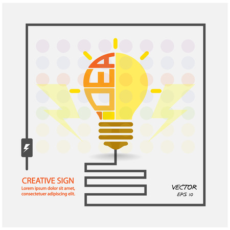 creative light bulb,saving sign,ideas concepts,business background.vector illustration  Vector