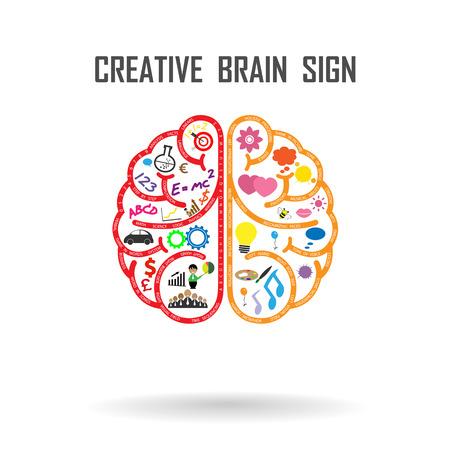 창조적 인 왼쪽과 오른쪽 뇌 아이디어 개념. 벡터 일러스트 레이 션 일러스트
