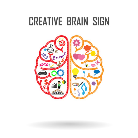 Creative left and right brains Idea concept .vector illustration Çizim