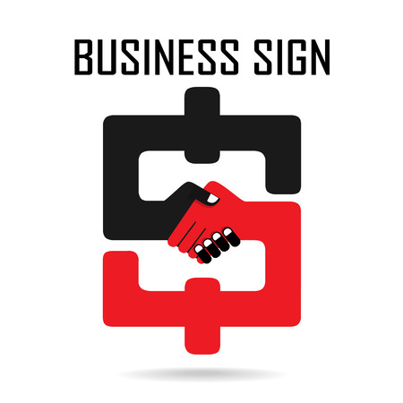 Handshake abstract sign vector design template. Business creative concept. Deal, contract, team, cooperation symbol icon  Vector