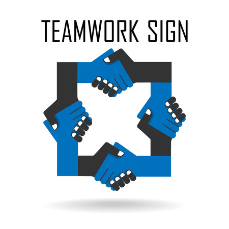 equal opportunity: Handshake abstract sign vector design template. Business creative concept. Deal, contract, team, cooperation symbol icon  Illustration