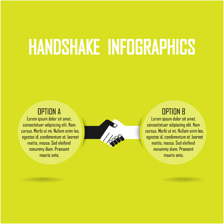Handshake abstract infograhics vector design template. Business creative concept. Deal, contract, team, cooperation symbol icon Vector