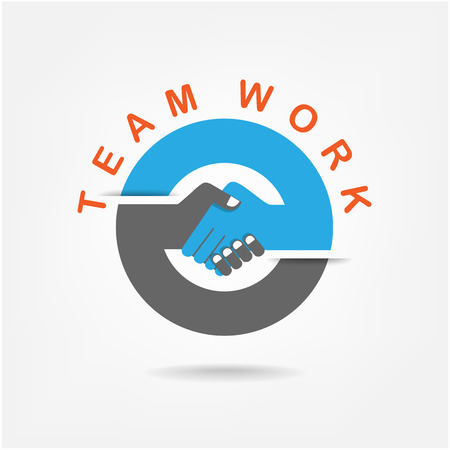 stretta di mano: Stretta di mano astratto segno vettore modello struttura commerciale concetto creativo Deal, del contratto, la squadra, la cooperazione icona simbolo