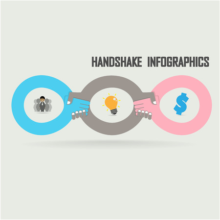 sign contract: Handshake abstract sign vector design template  Business creative concept  Deal, contract, team, cooperation symbol icon Illustration