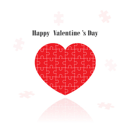 red puzzle heart shape on  background ,happy valentine s day.vector illustration  Vector