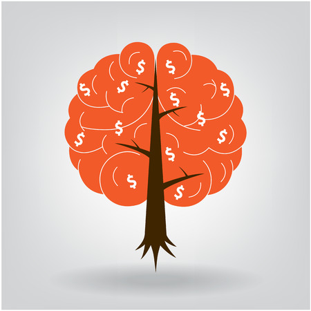 psychoanalysis: Brain tree illustration, tree of knowledge, medical, environmental or business concept