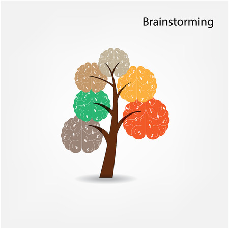 Brain tree illustration,brainstorm sign, tree of knowledge, medical, environmental or business concept Vector