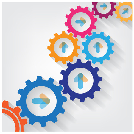 gears background: Color Gears Infographics Number Options Banner background. Vector illustration
